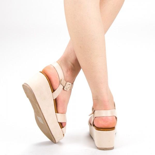 Sandale Dama cu Platforma YBS28 Beige Mei