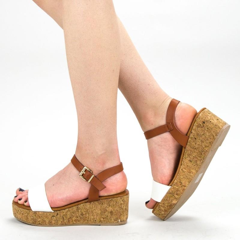 Sandale Dama cu Platforma YBS29 White Mei