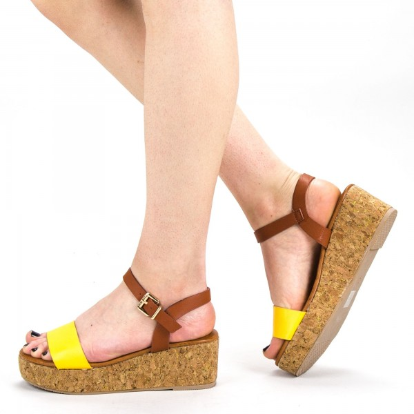 Sandale Dama cu Platforma YBS29 Yellow Mei