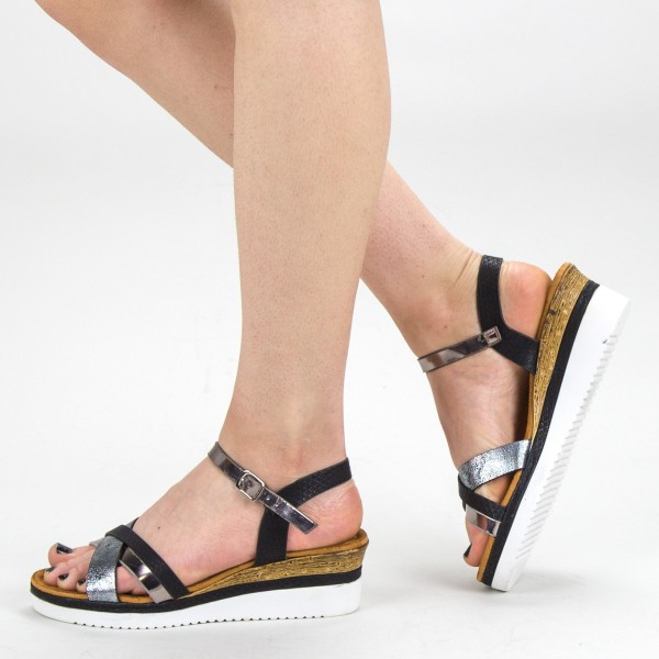 Sandale Dama cu Platforma YBS32 Black Mei