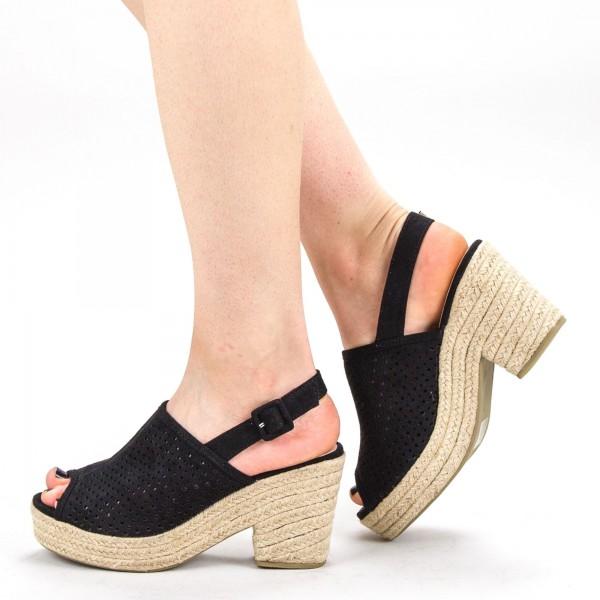 Sandale Dama cu Toc si Platforma FD30 Black Mei