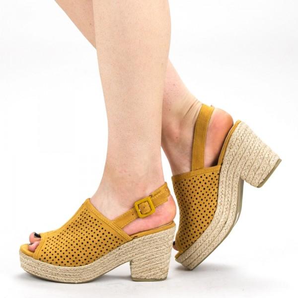 Sandale Dama cu Toc si Platforma FD30 Yellow Mei