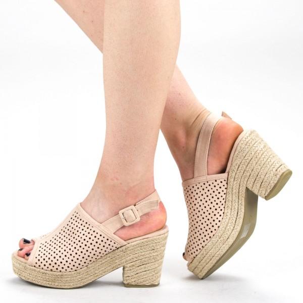 Sandale Dama cu Toc si Platforma FD30 Apricot Mei