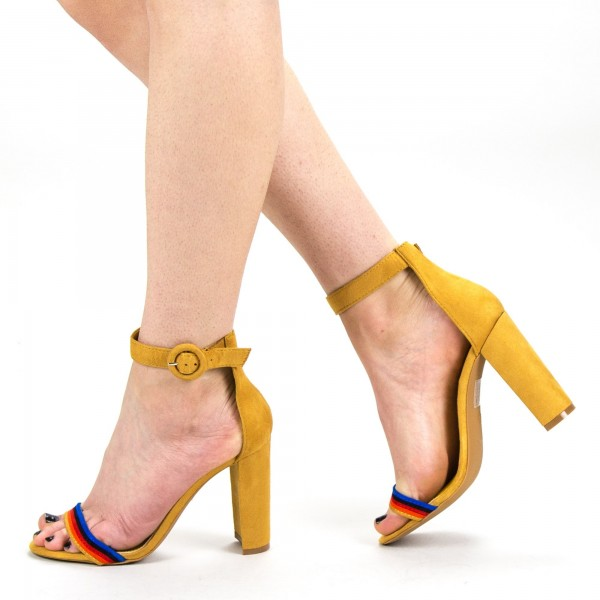 Sandale Dama cu Toc KV26 Yellow Mei