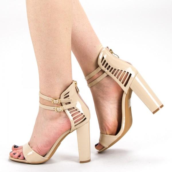 Sandale Dama cu Toc KV16 Beige Mei