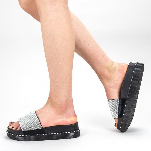 Papuci Dama cu Platforma WS130 Black-white Mei