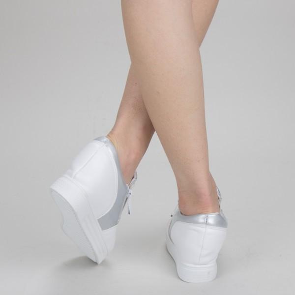 Pantofi Sport Dama cu Platforma 612 PSDP White Mei