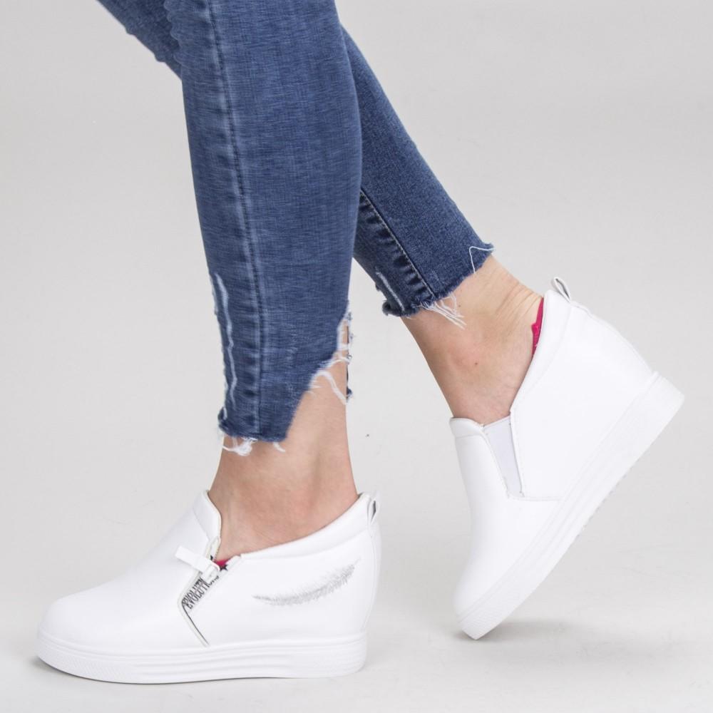Pantofi Sport Dama cu Platforma 608 PSDP White Mei