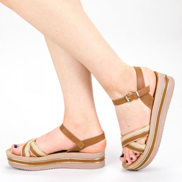 Sandale Dama cu Platforma CS21 Camel Mei