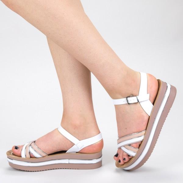 Sandale Dama cu Platforma CS21 White Mei