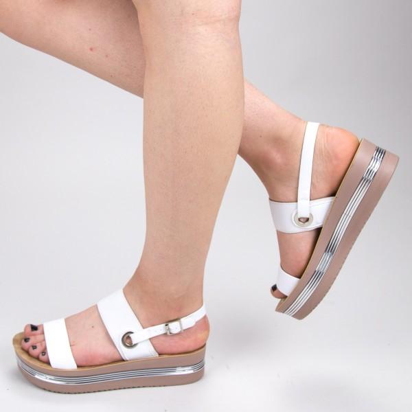 Sandale Dama cu Platforma CS25 White Mei
