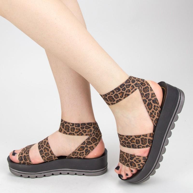 Sandale Dama cu Platforma CS26 Leopard Mei