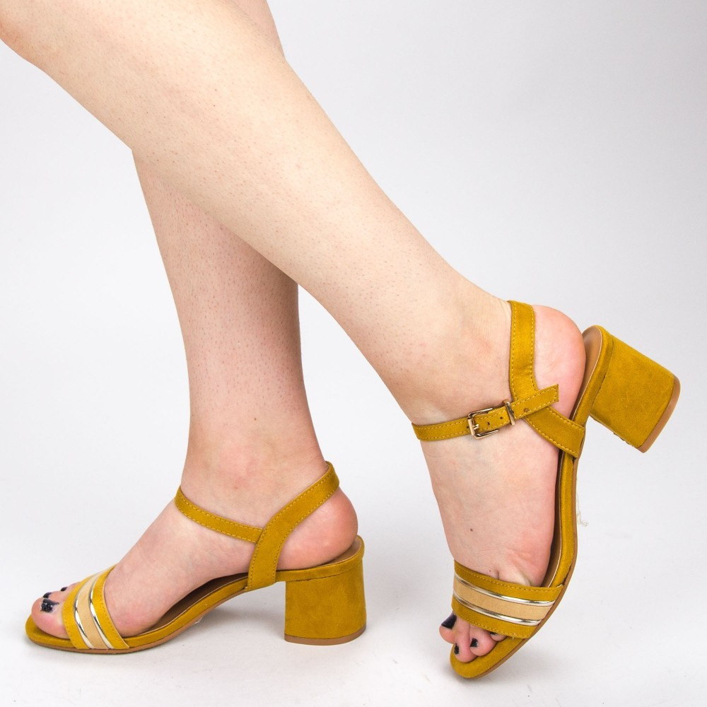 Sandale Dama cu Toc CS62 Yellow Mei
