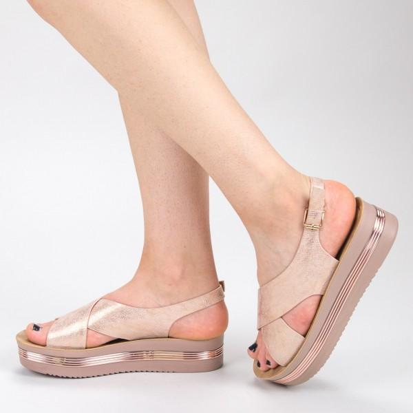Sandale Dama cu Platforma CS20 Champagne Mei