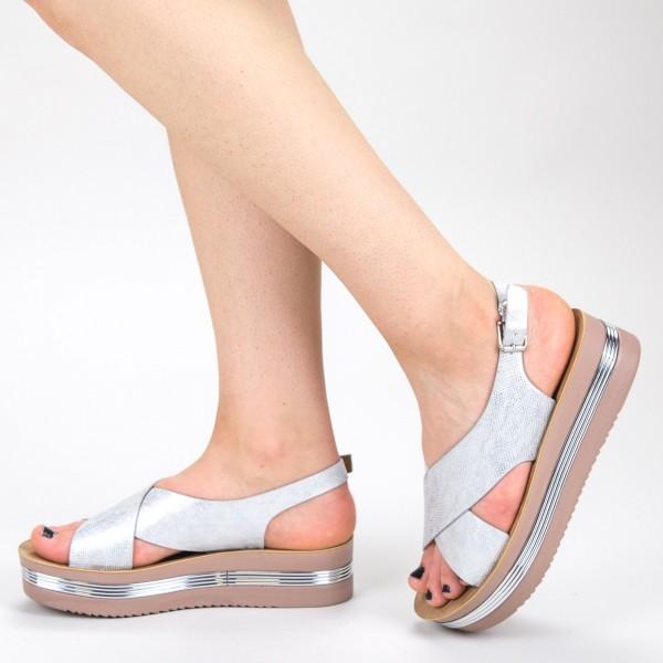 Sandale Dama cu Platforma CS20 Silver Mei
