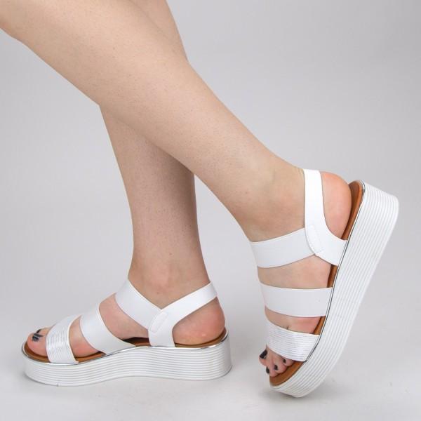 Sandale Dama cu Platforma WS153 White Mei