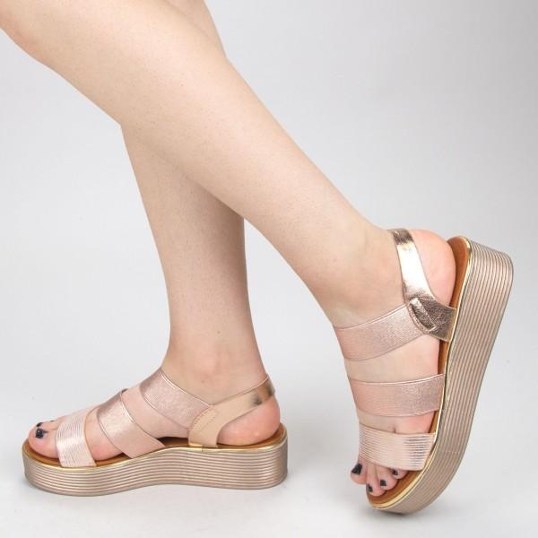 Sandale Dama cu Platforma WS153 Champagne Mei