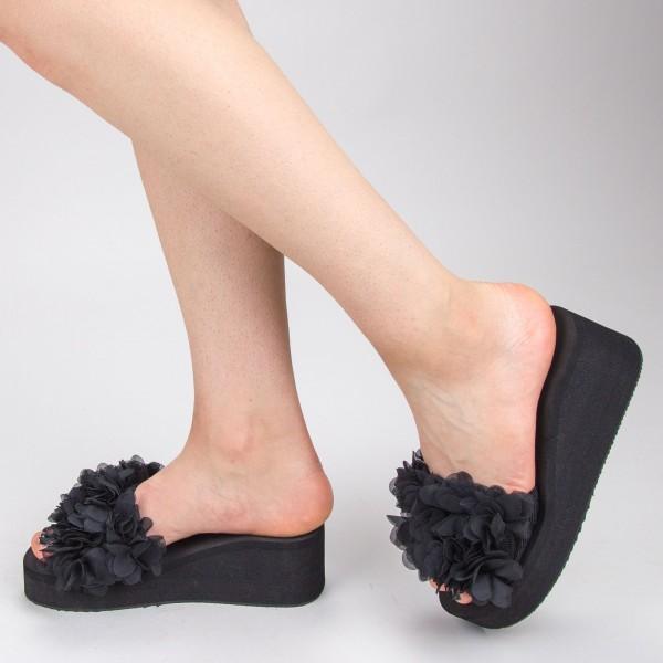 Papuci Dama cu Platforma WS152 Black Mei