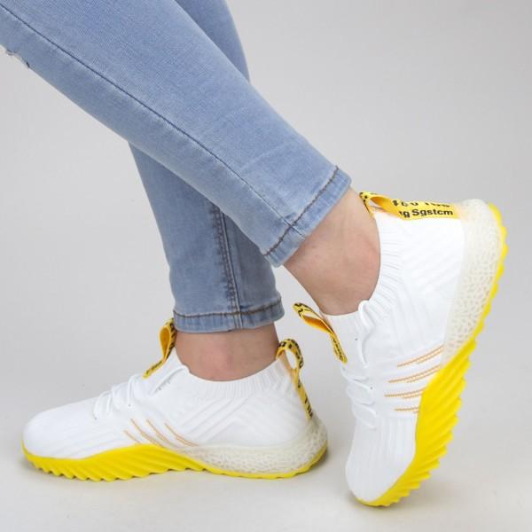 Pantofi Sport Dama YKQ70 White-yellow Mei