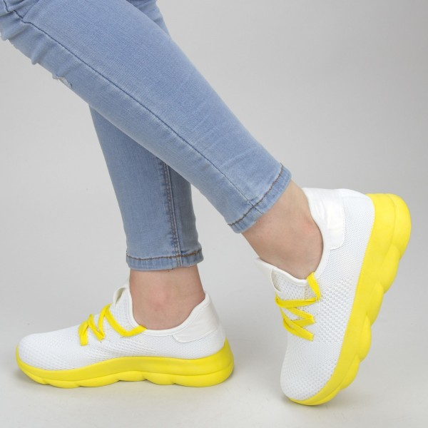 Pantofi Sport Dama YKQ71 White-yellow Mei