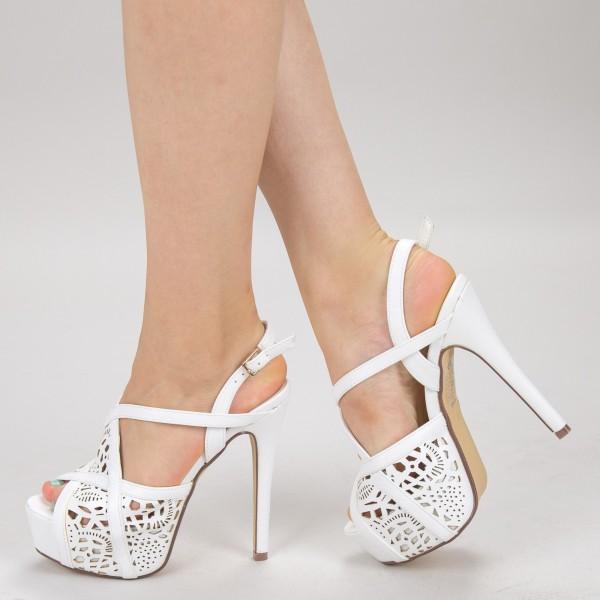 Sandale Dama cu Toc si Platforma LBS2181 White Bottine