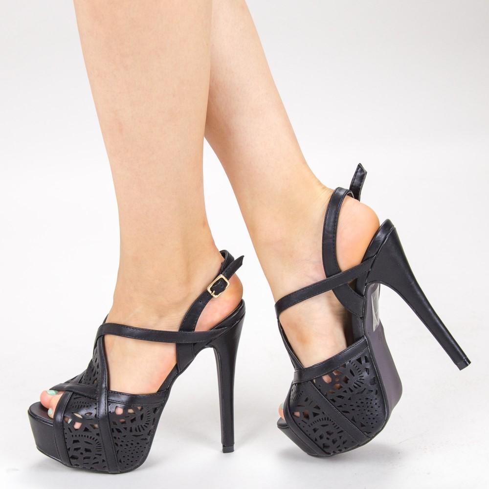 Sandale Dama cu Toc si Platforma LBS2181 Black Bottine