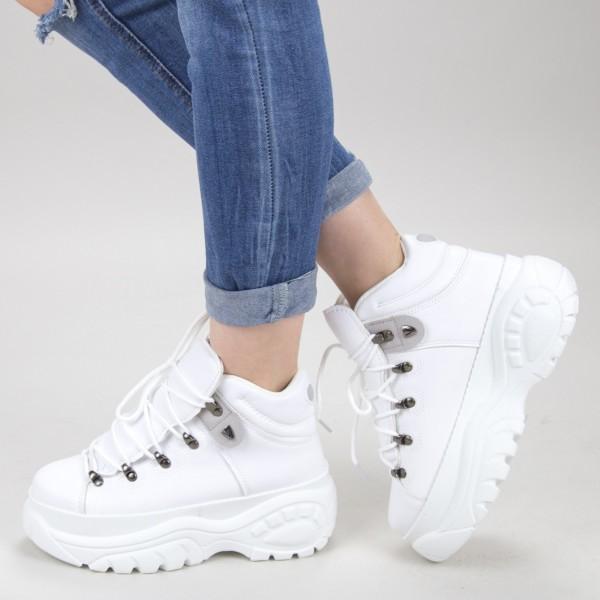 Pantofi Sport Dama cu Platforma GB83 White Mei