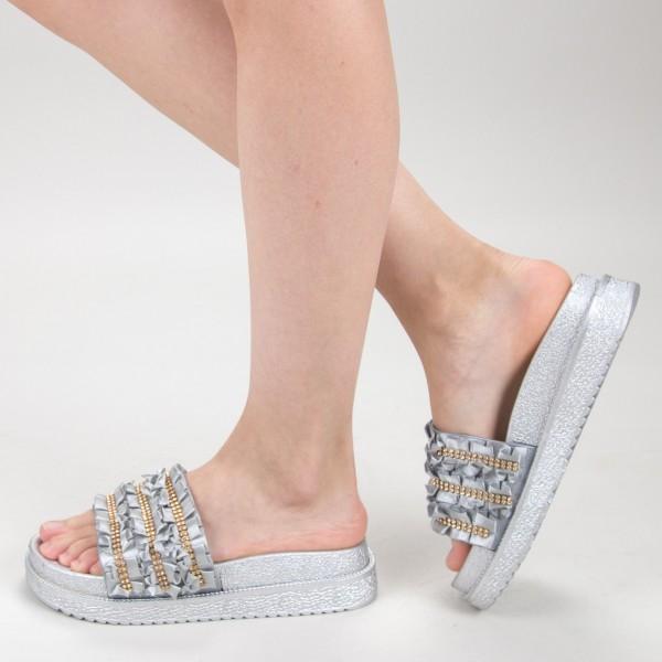 Papuci Dama cu Platforma HM-05 Silver Yiyi