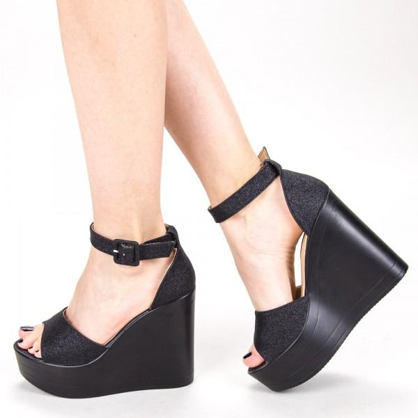 Sandale Dama cu Platforma LM285 Black Mei