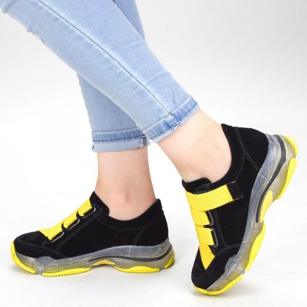 Pantofi Sport Dama SZ218 Black-yellow Mei