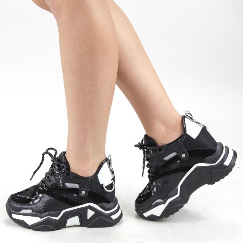 Pantofi Sport Dama cu Platforma SJN281 Black Mei