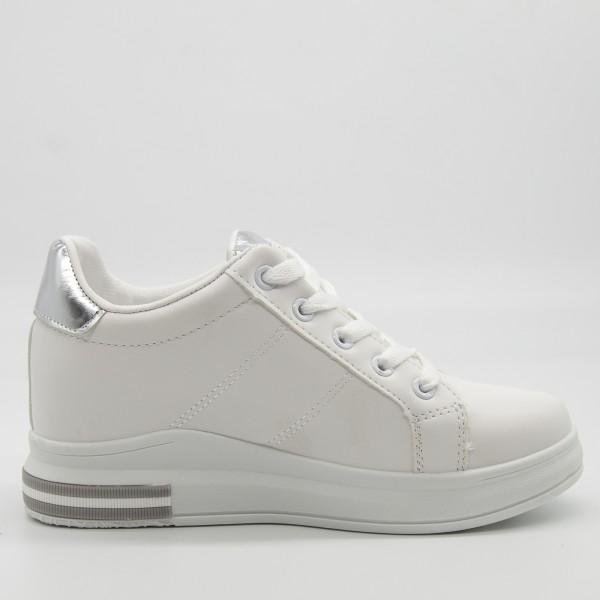 Pantofi Sport Dama cu Platforma YKQ196 White-silver Mei