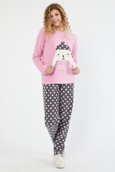 Pijama Dama PIJAMA 8602 BUNNY Roz-gri Adrom