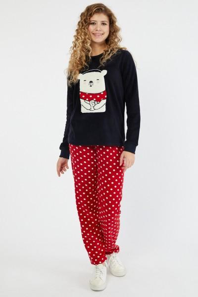 Pijama Dama PIJAMA 8602 URS Negru-rosu Adrom