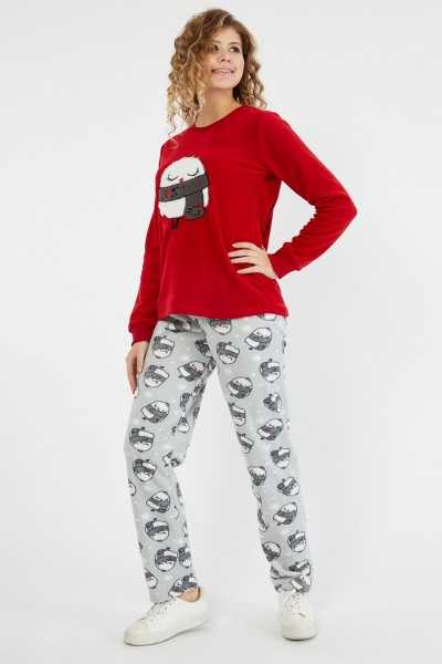 Pijama Dama PIJAMA 8602 PUI Rosu-gri Adrom