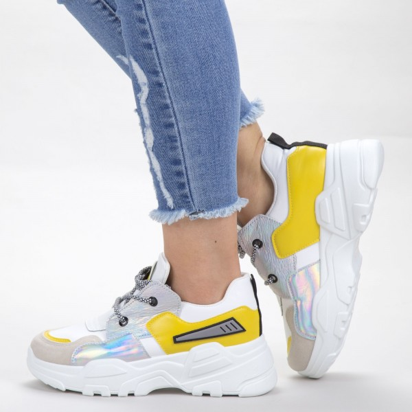 Pantofi Sport Dama YKQ203 White-Yellow Mei