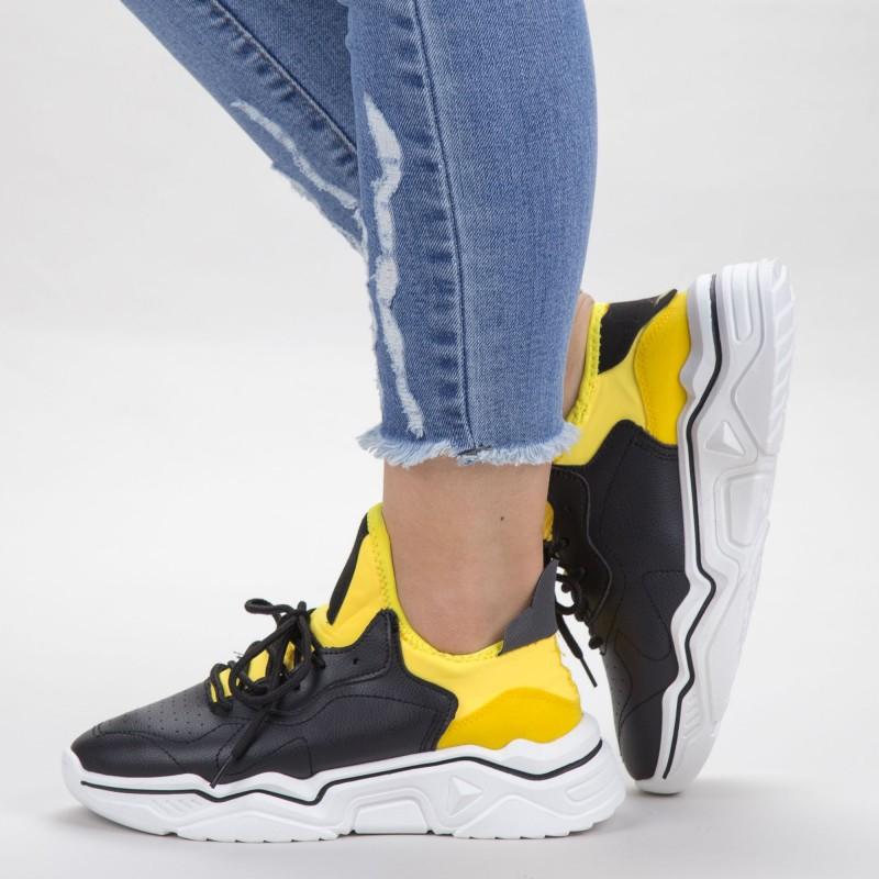 Pantofi Sport Dama HMM26 Black-Yellow Mei