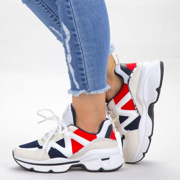 Pantofi Sport Dama YKQ212 White-Red Mei
