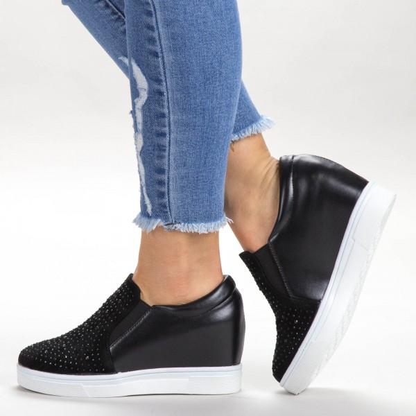 Pantofi Sport Dama cu Platforma 2-1 PSDP Black Sport Fashion