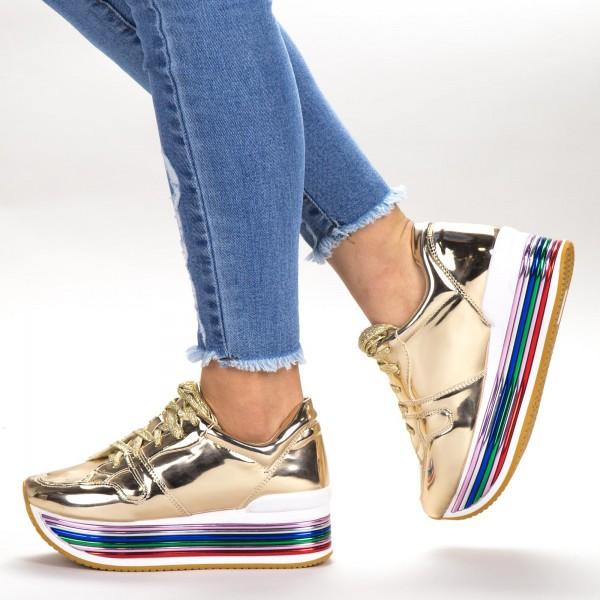 Pantofi Sport Dama cu Platforma 3709-12 Gold Sport Fashion