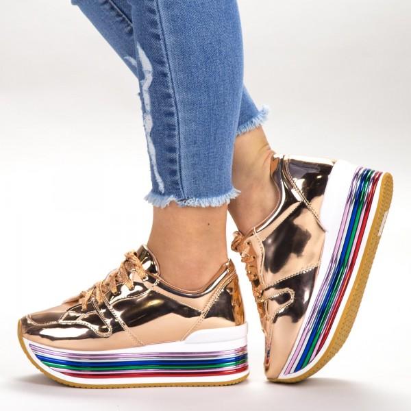 Pantofi Sport Dama cu Platforma 3709-12 Rosegold Sport Fashion
