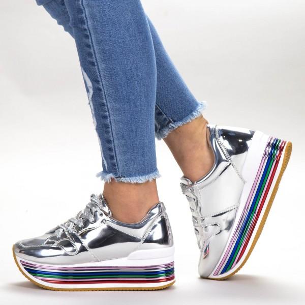 Pantofi Sport Dama cu Platforma 3709-12 Silver Sport Fashion