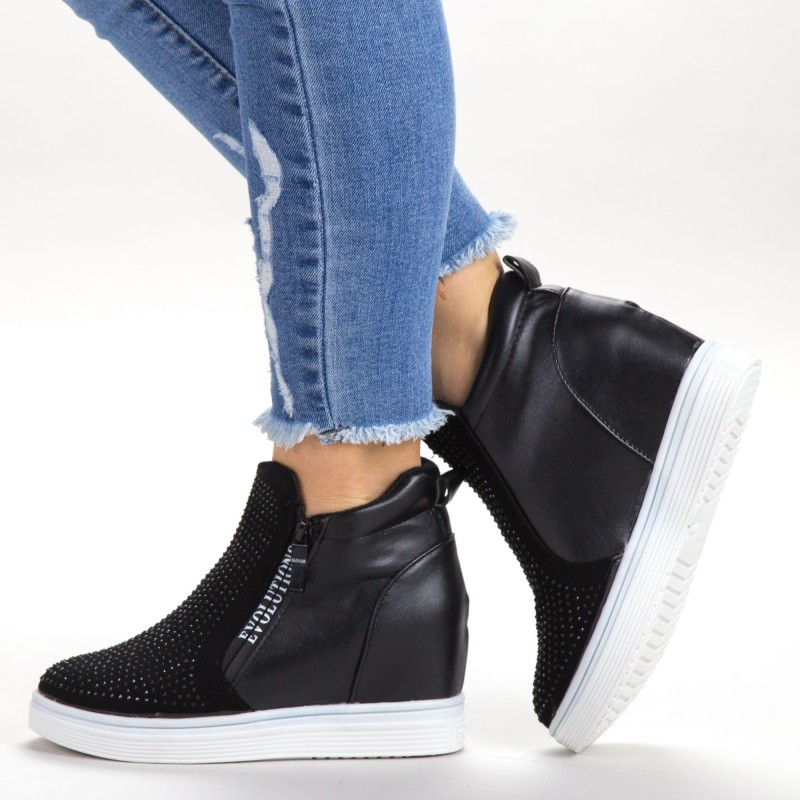 Pantofi Sport Dama cu Platforma 8-651 Black Sport Fashion