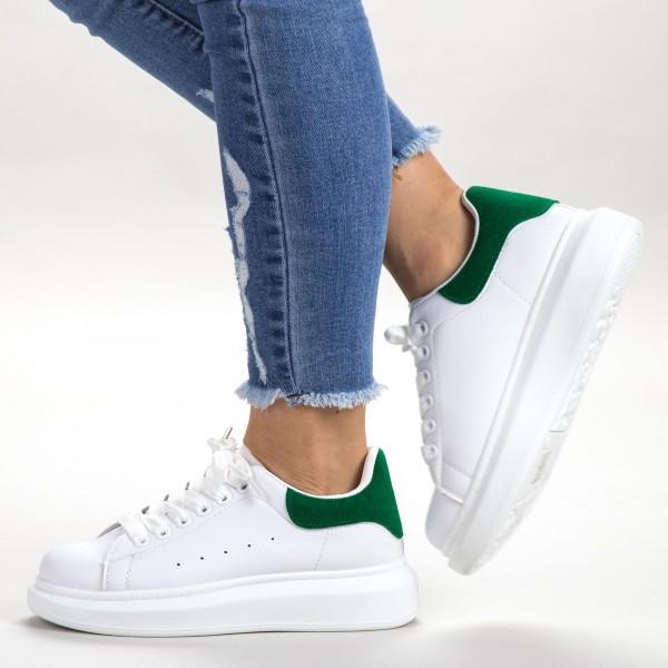 Pantofi Sport Dama AD119 White-Green Sport Fashion