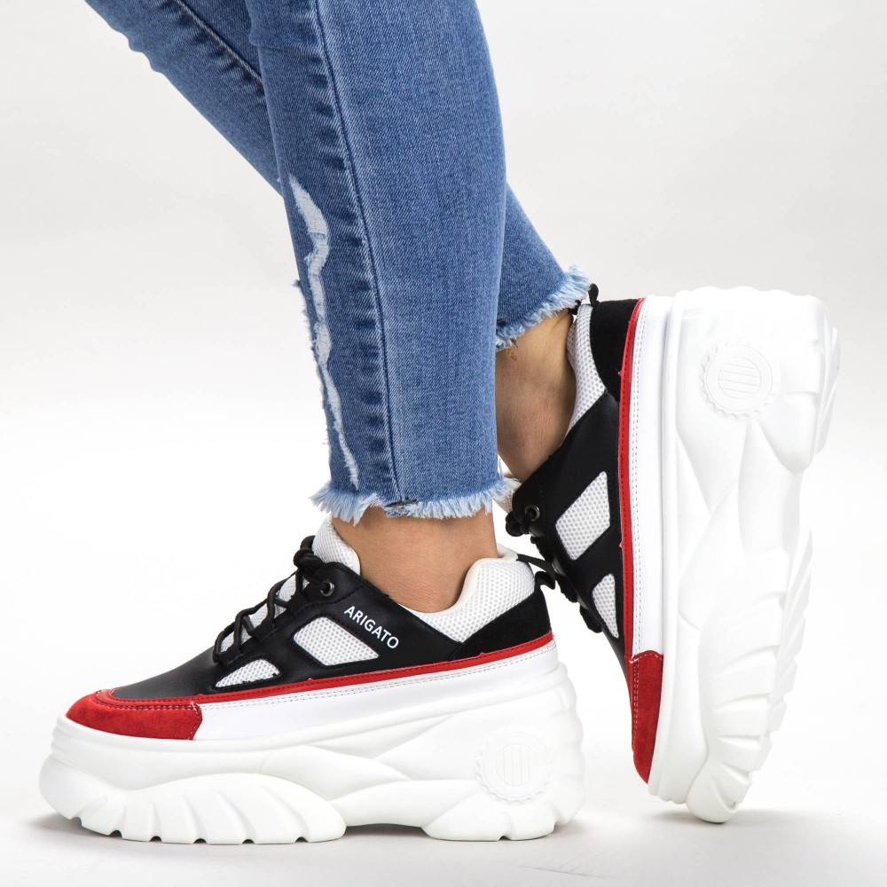 Pantofi Sport Dama cu Platforma P9198 Black-Red Botinelli