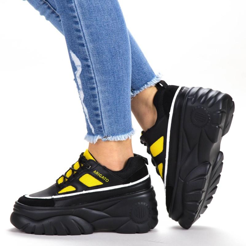 Pantofi Sport Dama cu Platforma P9198 Black-Yellow Botinelli