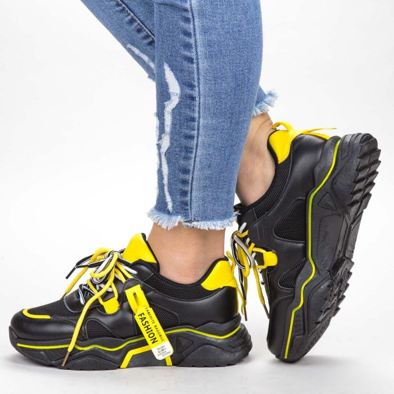 Pantofi Sport Dama YKQ218 Black-Yellow Mei