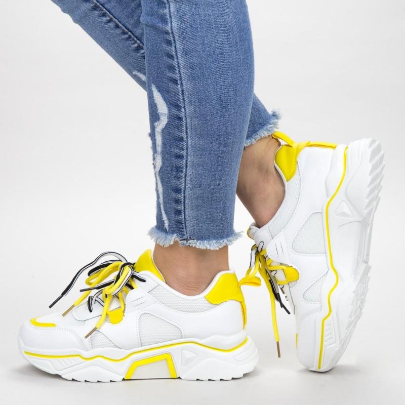 Pantofi Sport Dama YKQ218 White-Yellow Mei
