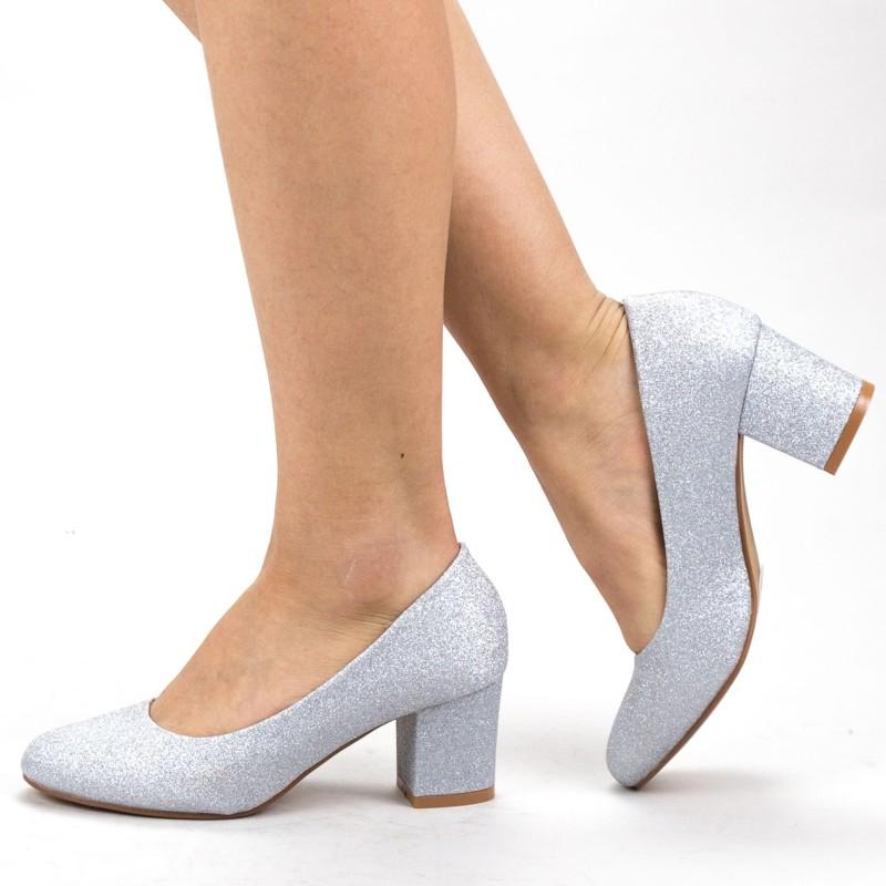 Pantofi cu Toc XKK251A Silver Mei