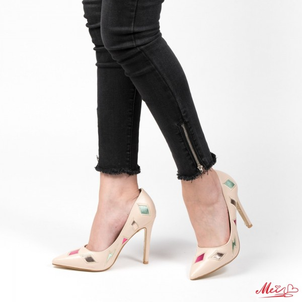 Pantofi cu Toc WT183 Beige Mei